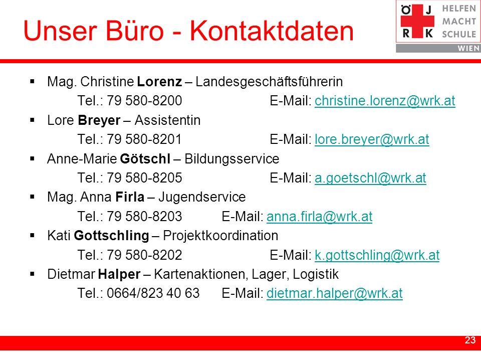 23 Unser Büro - Kontaktdaten Mag. Christine Lorenz – Landesgeschäftsführerin Tel.: 79 580-8200E-Mail: christine.lorenz@wrk.atchristine.lorenz@wrk.at L
