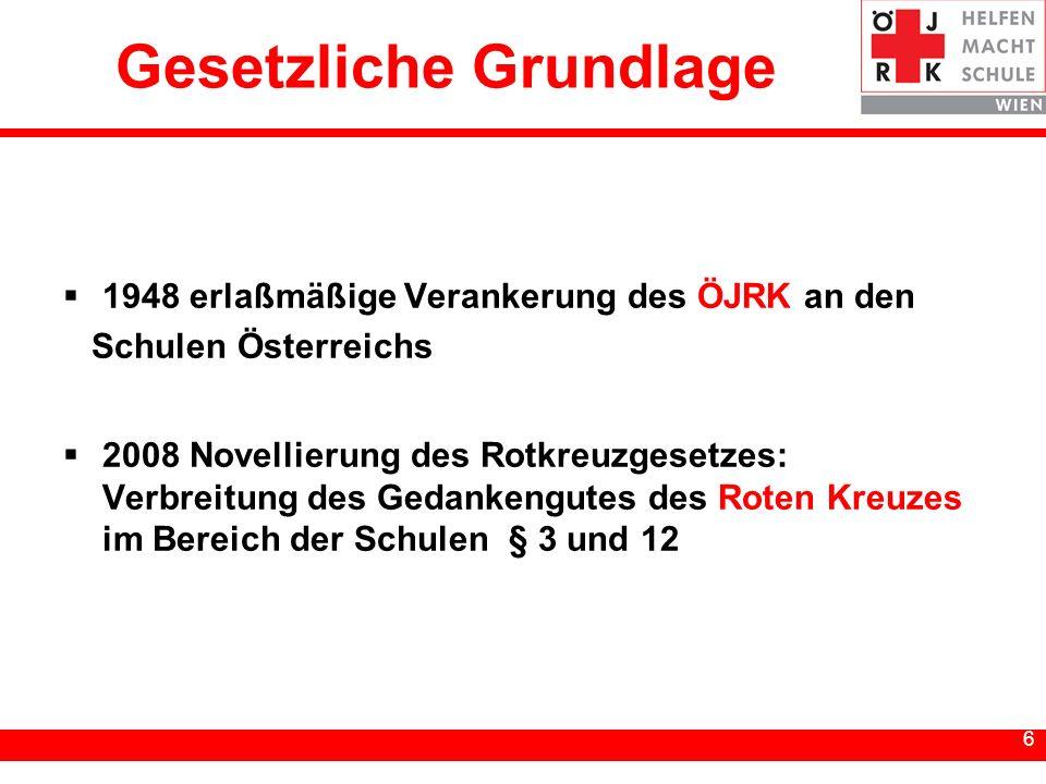 6 6 Gesetzliche Grundlage 1948 erlaßmäßige Verankerung des ÖJRK an den Schulen Österreichs 2008 Novellierung des Rotkreuzgesetzes: Verbreitung des Ged
