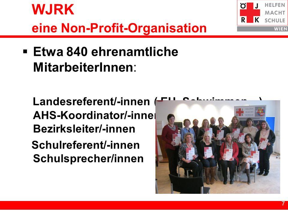 7 7 WJRK eine Non-Profit-Organisation Etwa 840 ehrenamtliche MitarbeiterInnen: Landesreferent/-innen ( EH, Schwimmen…) AHS-Koordinator/-innen Bezirksleiter/-innen Schulreferent/-innen Schulsprecher/innen