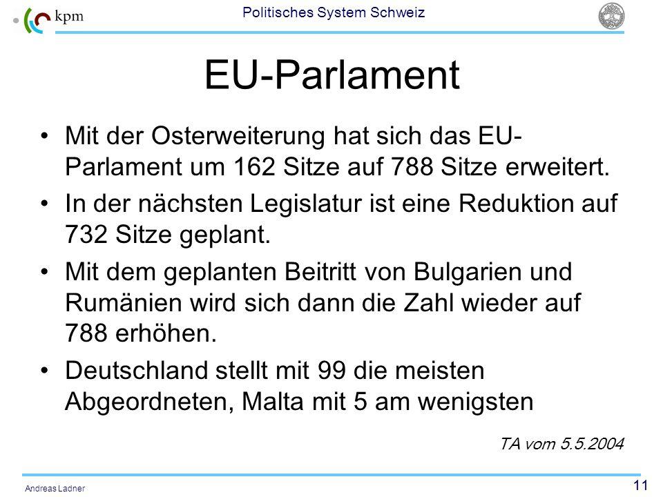 11 Politisches System Schweiz Andreas Ladner EU-Parlament Mit der Osterweiterung hat sich das EU- Parlament um 162 Sitze auf 788 Sitze erweitert. In d