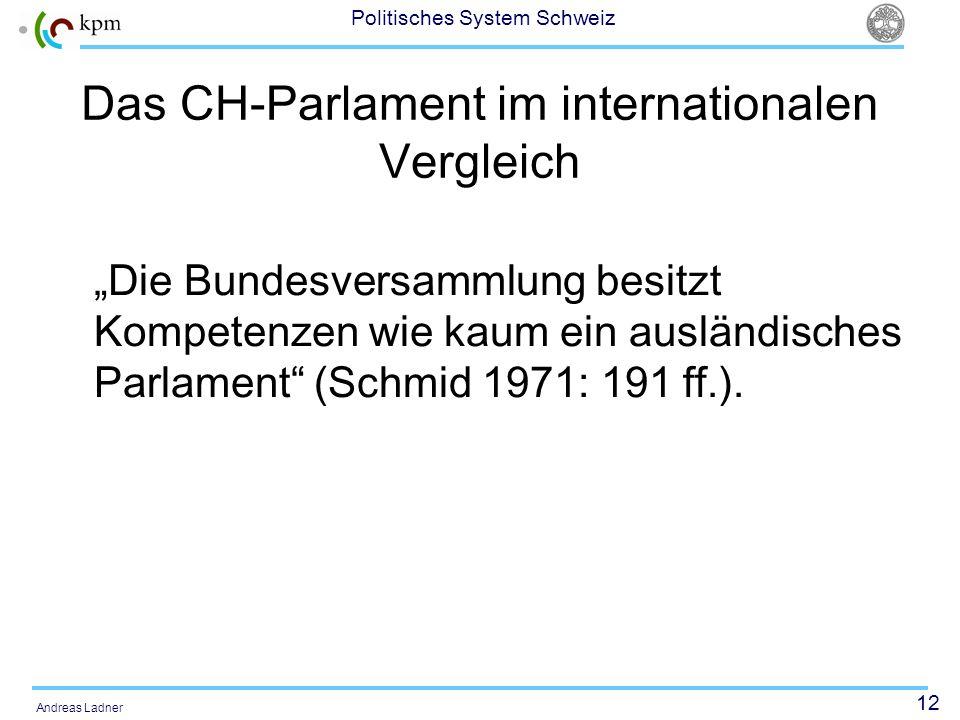 12 Politisches System Schweiz Andreas Ladner Das CH-Parlament im internationalen Vergleich Die Bundesversammlung besitzt Kompetenzen wie kaum ein ausl