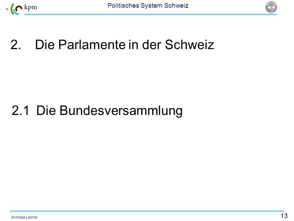 13 Politisches System Schweiz Andreas Ladner 2.Die Parlamente in der Schweiz 2.1Die Bundesversammlung