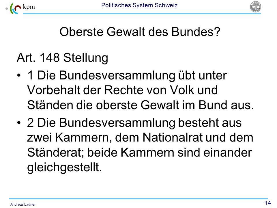 14 Politisches System Schweiz Andreas Ladner Oberste Gewalt des Bundes? Art. 148 Stellung 1 Die Bundesversammlung übt unter Vorbehalt der Rechte von V