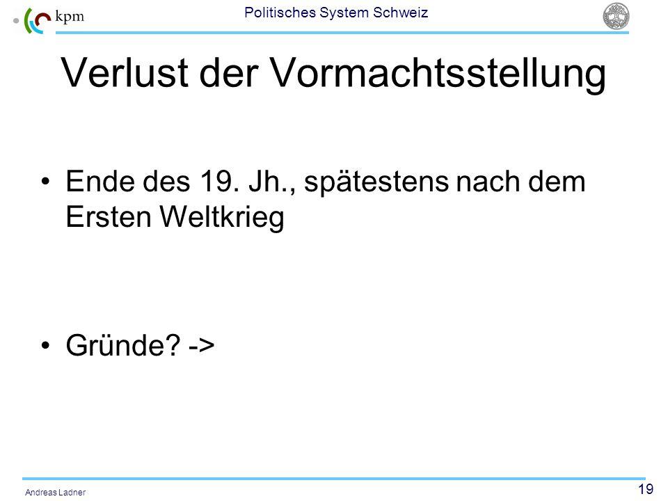 19 Politisches System Schweiz Andreas Ladner Verlust der Vormachtsstellung Ende des 19. Jh., spätestens nach dem Ersten Weltkrieg Gründe? ->