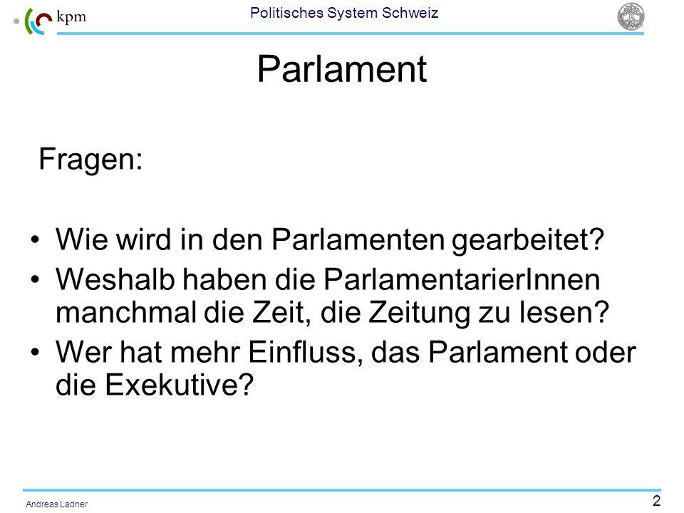2 Politisches System Schweiz Andreas Ladner Parlament Fragen: Wie wird in den Parlamenten gearbeitet? Weshalb haben die ParlamentarierInnen manchmal d