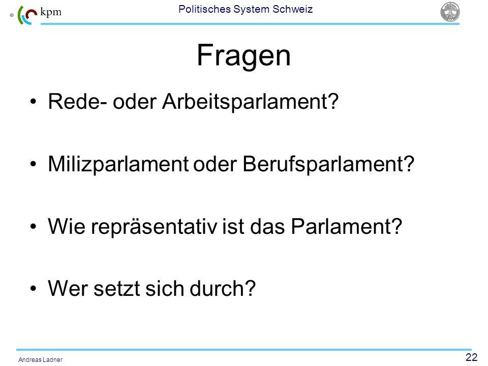22 Politisches System Schweiz Andreas Ladner Fragen Rede- oder Arbeitsparlament? Milizparlament oder Berufsparlament? Wie repräsentativ ist das Parlam