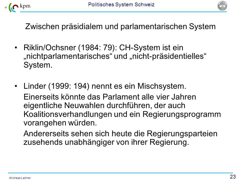 23 Politisches System Schweiz Andreas Ladner Zwischen präsidialem und parlamentarischen System Riklin/Ochsner (1984: 79): CH-System ist ein nichtparla