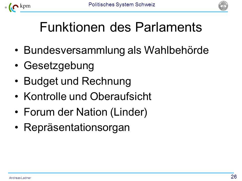 26 Politisches System Schweiz Andreas Ladner Funktionen des Parlaments Bundesversammlung als Wahlbehörde Gesetzgebung Budget und Rechnung Kontrolle un