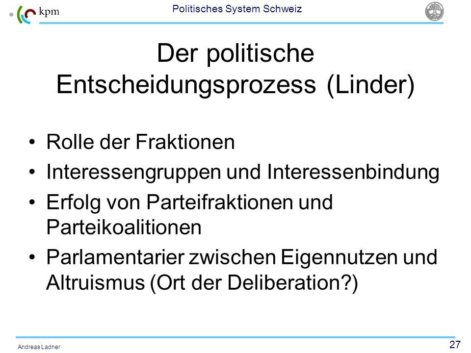 27 Politisches System Schweiz Andreas Ladner Der politische Entscheidungsprozess (Linder) Rolle der Fraktionen Interessengruppen und Interessenbindung