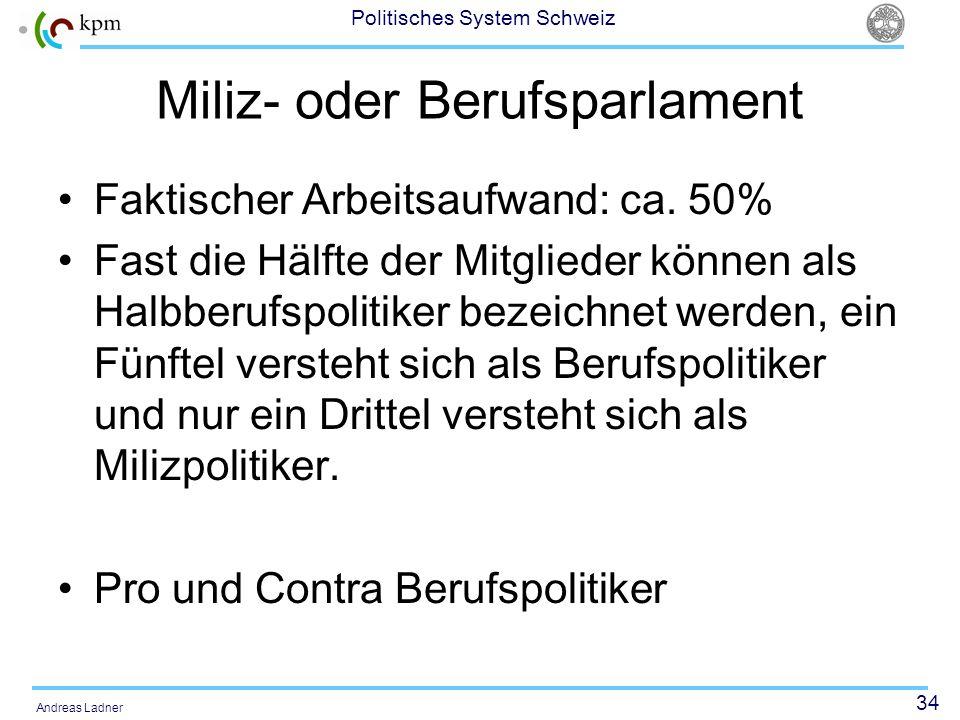 34 Politisches System Schweiz Andreas Ladner Miliz- oder Berufsparlament Faktischer Arbeitsaufwand: ca. 50% Fast die Hälfte der Mitglieder können als
