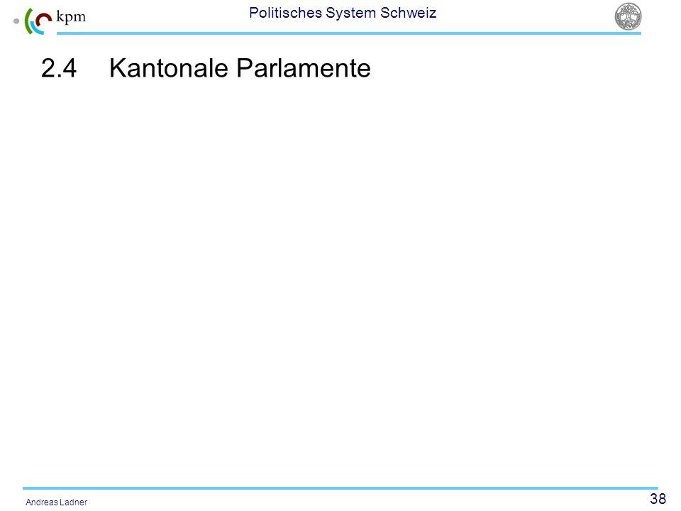 38 Politisches System Schweiz Andreas Ladner 2.4Kantonale Parlamente