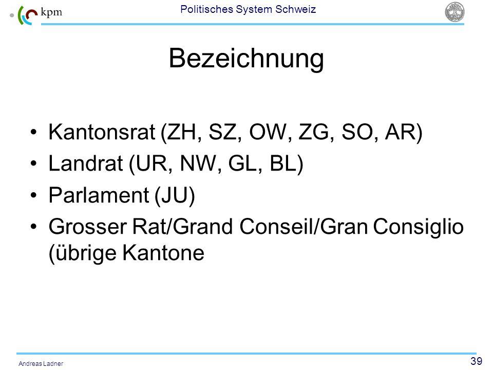 39 Politisches System Schweiz Andreas Ladner Bezeichnung Kantonsrat (ZH, SZ, OW, ZG, SO, AR) Landrat (UR, NW, GL, BL) Parlament (JU) Grosser Rat/Grand