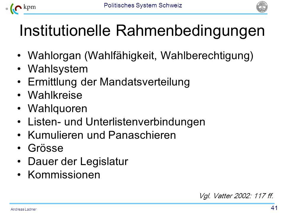 41 Politisches System Schweiz Andreas Ladner Institutionelle Rahmenbedingungen Wahlorgan (Wahlfähigkeit, Wahlberechtigung) Wahlsystem Ermittlung der M