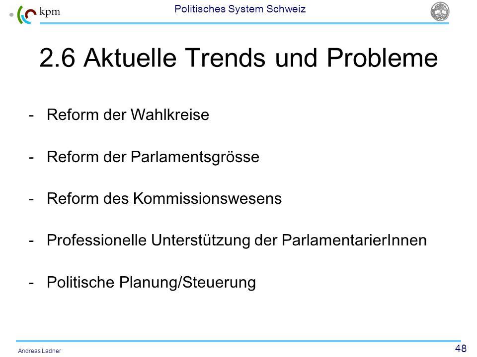 48 Politisches System Schweiz Andreas Ladner 2.6 Aktuelle Trends und Probleme -Reform der Wahlkreise -Reform der Parlamentsgrösse -Reform des Kommissi