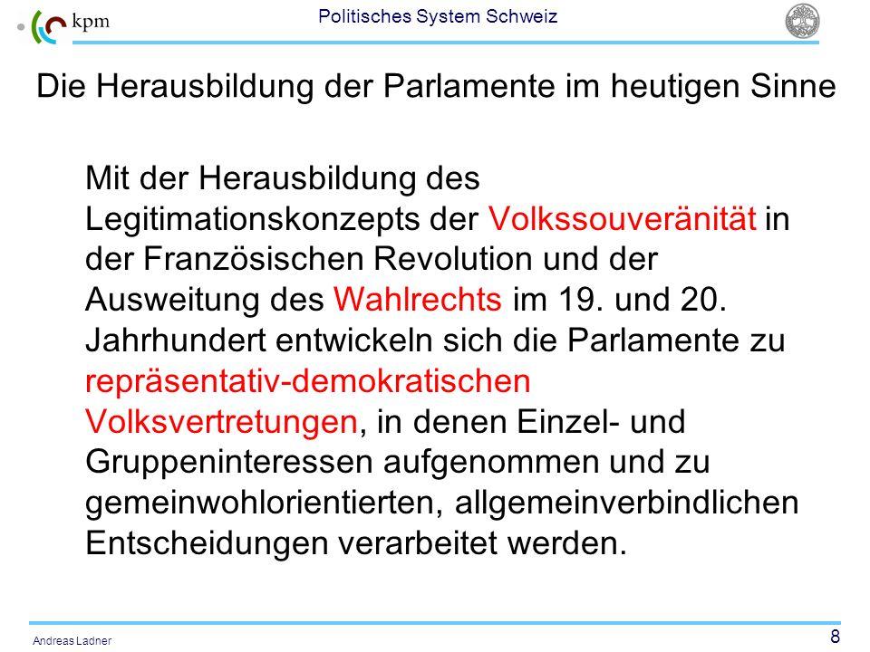 8 Politisches System Schweiz Andreas Ladner Die Herausbildung der Parlamente im heutigen Sinne Mit der Herausbildung des Legitimationskonzepts der Vol