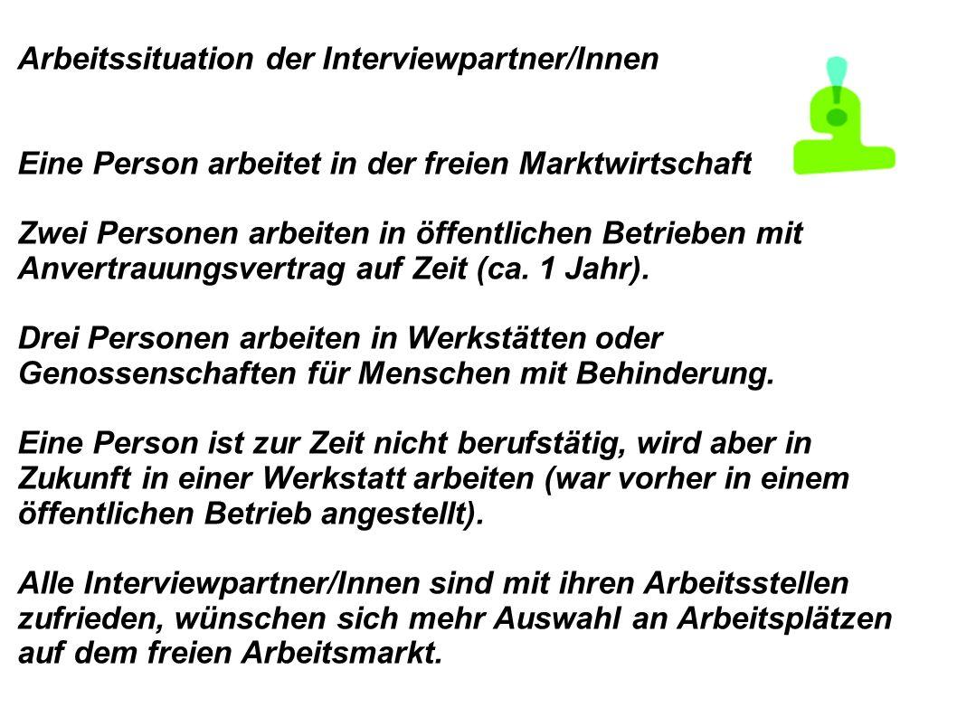 Arbeitssituation der Interviewpartner/Innen Eine Person arbeitet in der freien Marktwirtschaft. Zwei Personen arbeiten in öffentlichen Betrieben mit A