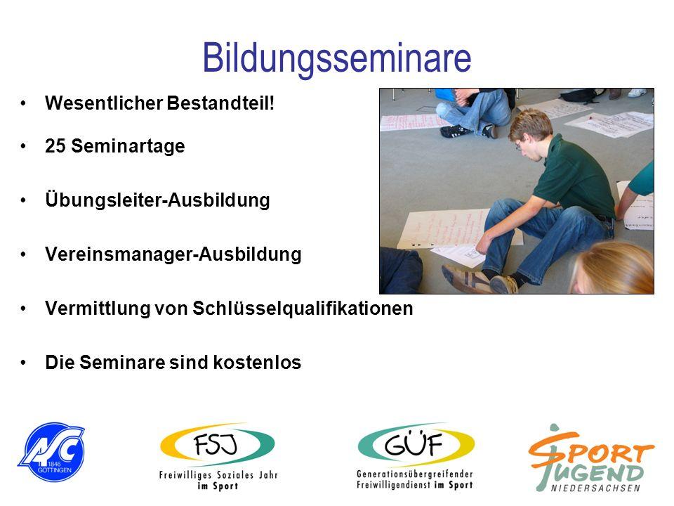 25 Seminartage Übungsleiter-Ausbildung Vereinsmanager-Ausbildung Vermittlung von Schlüsselqualifikationen Die Seminare sind kostenlos Bildungsseminare