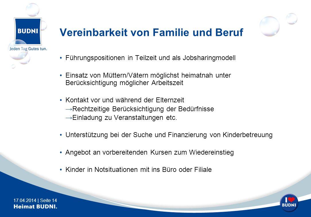 17.04.2014 | Seite 14 Vereinbarkeit von Familie und Beruf Führungspositionen in Teilzeit und als Jobsharingmodell Einsatz von Müttern/Vätern möglichst