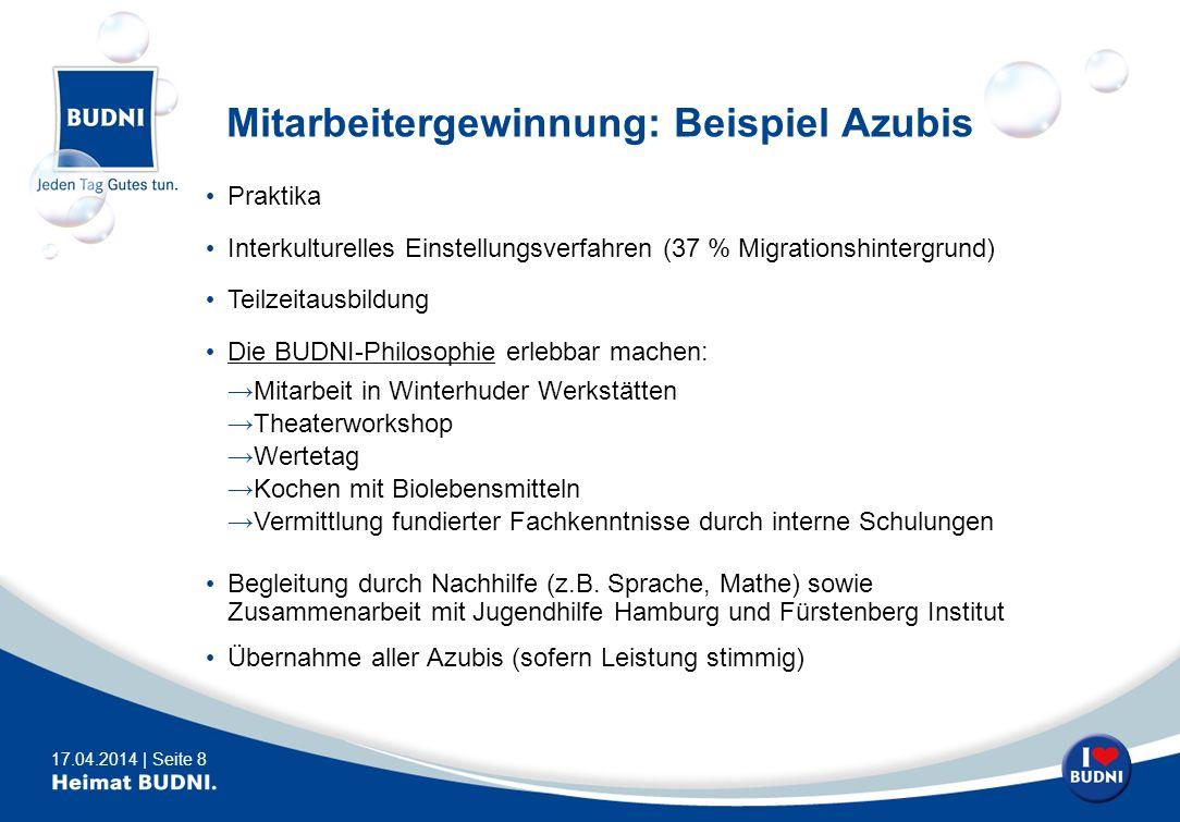 17.04.2014 | Seite 8 Mitarbeitergewinnung: Beispiel Azubis Praktika Interkulturelles Einstellungsverfahren (37 % Migrationshintergrund) Teilzeitausbil