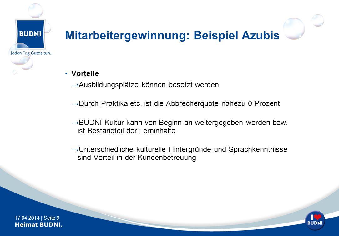 17.04.2014 | Seite 9 Mitarbeitergewinnung: Beispiel Azubis Vorteile Ausbildungsplätze können besetzt werden Durch Praktika etc. ist die Abbrecherquote