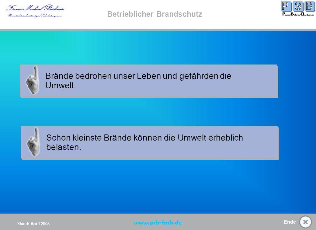 Ende Stand: April 2008 Franz-Michael Birkner Brandsschutzsachverständiger/Sicherheitsingenieur www.psb-fmb.de Betrieblicher Brandschutz Verantwortung im Brandschutz (K) Verantwortung Start