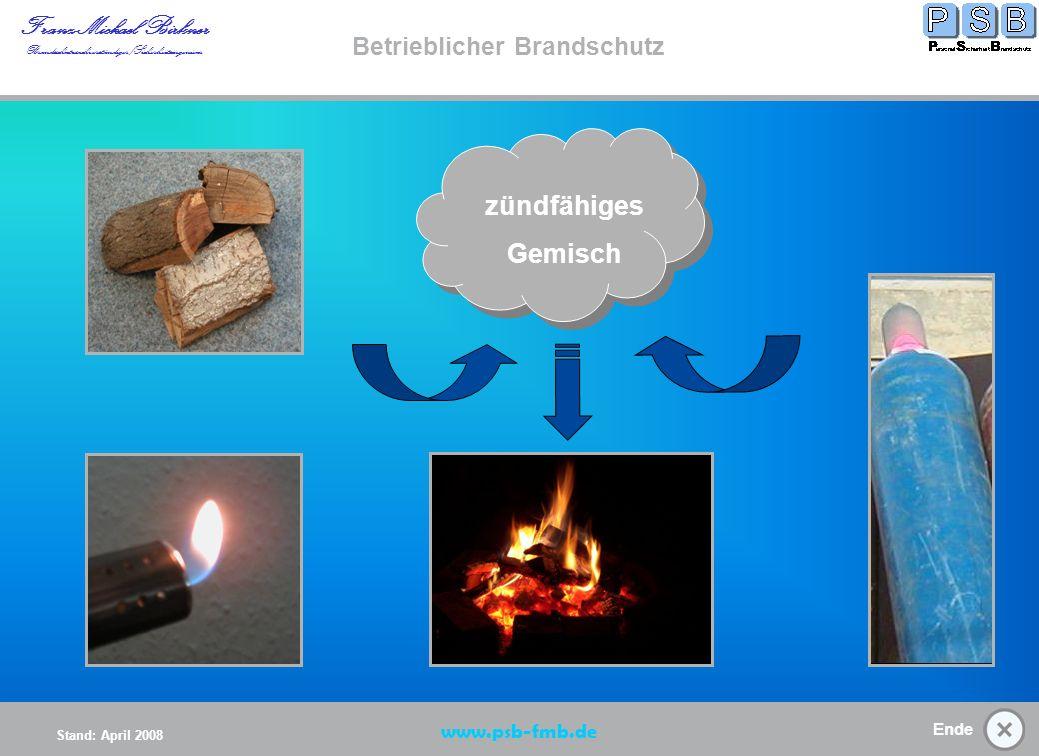 Ende Stand: April 2008 Franz-Michael Birkner Brandsschutzsachverständiger/Sicherheitsingenieur www.psb-fmb.de Betrieblicher Brandschutz Brandentstehung/ Zündquellen (K) Brandentstehun g Start