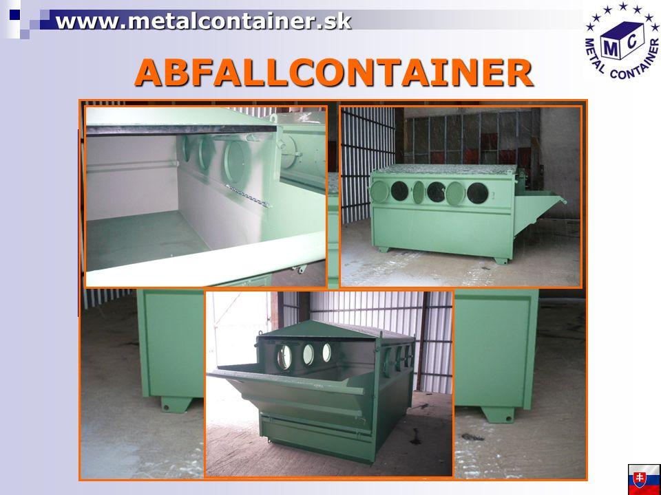 ABFALLCONTAINER BENUTZUNG für Sammeln von Schütt- und festen Abfall aus den Haushalten, Industrie-, Bau- und Landwirtschaftsobjekten geeignet OFFENE MULDE STAHLBEH ÄLTER 5, 6, 8, 10m 3 STAHLWÄNDE 3mm STAHLBODEN 4mm MANIPULATION MIT DER HILFE DES ARMLADERS www.metalcontainer.sk