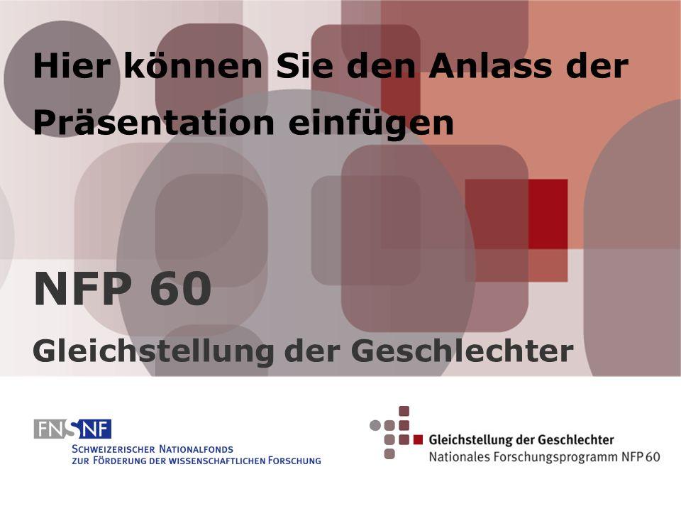 Hier können Sie den Anlass der Präsentation einfügen NFP 60 Gleichstellung der Geschlechter