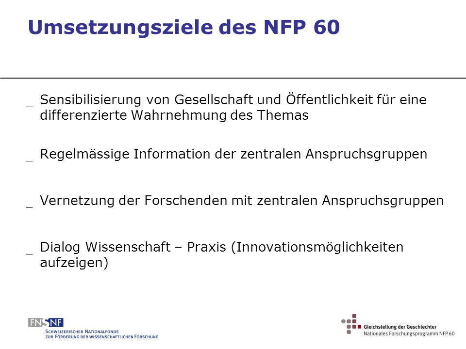 Umsetzungsziele des NFP 60 _ Sensibilisierung von Gesellschaft und Öffentlichkeit für eine differenzierte Wahrnehmung des Themas _ Regelmässige Inform