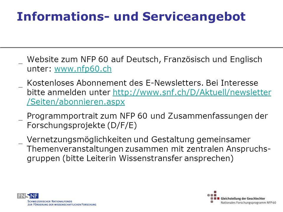 Informations- und Serviceangebot _ Website zum NFP 60 auf Deutsch, Französisch und Englisch unter: www.nfp60.chwww.nfp60.ch _ Kostenloses Abonnement d