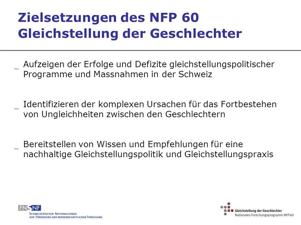 Zielsetzungen des NFP 60 Gleichstellung der Geschlechter _ Aufzeigen der Erfolge und Defizite gleichstellungspolitischer Programme und Massnahmen in d