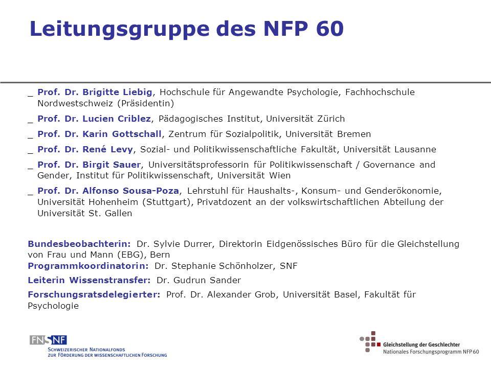 Leitungsgruppe des NFP 60 _Prof. Dr. Brigitte Liebig, Hochschule für Angewandte Psychologie, Fachhochschule Nordwestschweiz (Präsidentin) _Prof. Dr. L