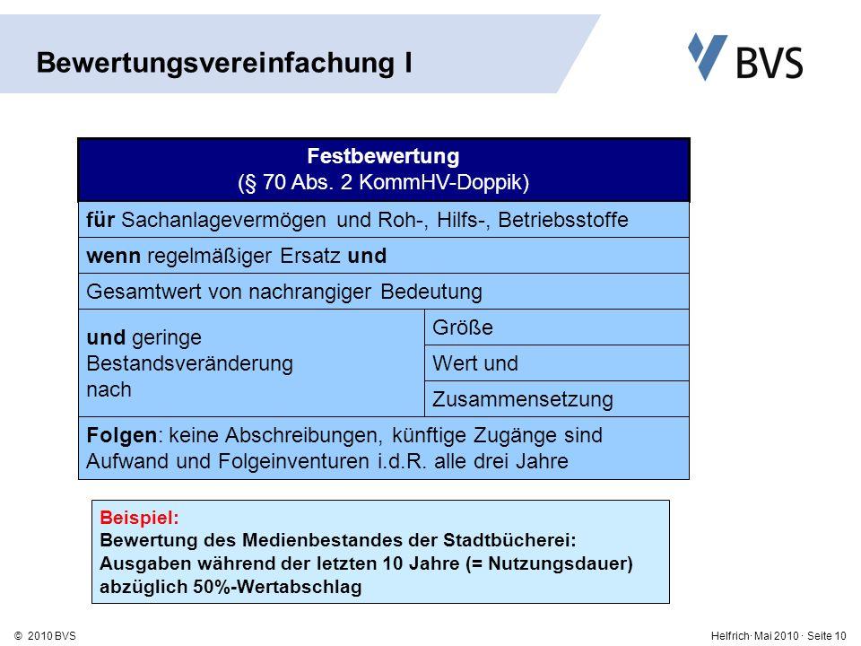 Helfrich· Mai 2010 · Seite 10© 2010 BVS Festbewertung (§ 70 Abs.