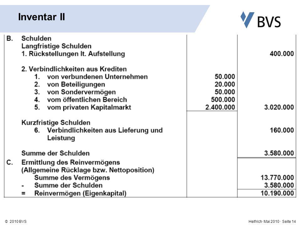 Helfrich· Mai 2010 · Seite 14© 2010 BVS Inventar II