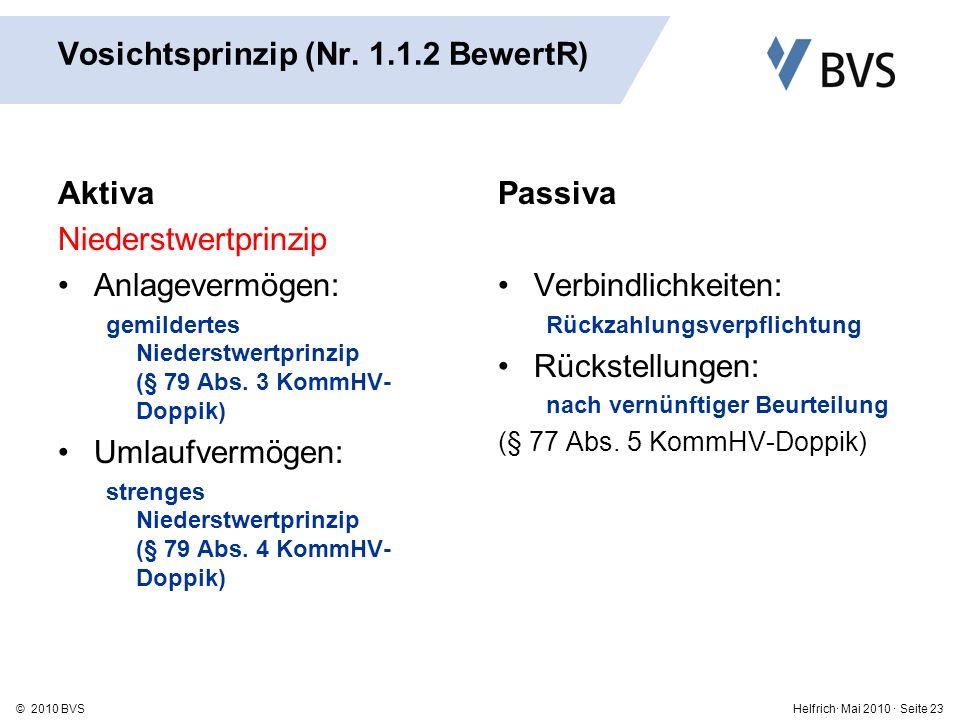 Helfrich· Mai 2010 · Seite 23© 2010 BVS Vosichtsprinzip (Nr.