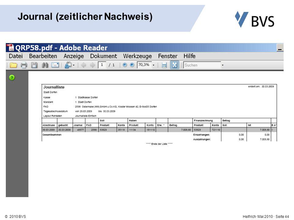 Helfrich· Mai 2010 · Seite 44© 2010 BVS Journal (zeitlicher Nachweis)