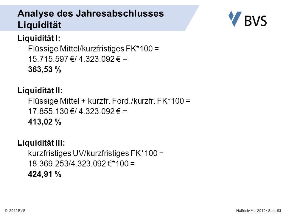Helfrich· Mai 2010 · Seite 53© 2010 BVS Analyse des Jahresabschlusses Liquidität Liquidität I: Flüssige Mittel/kurzfristiges FK*100 = 15.715.597 / 4.323.092 = 363,53 % Liquidität II: Flüssige Mittel + kurzfr.
