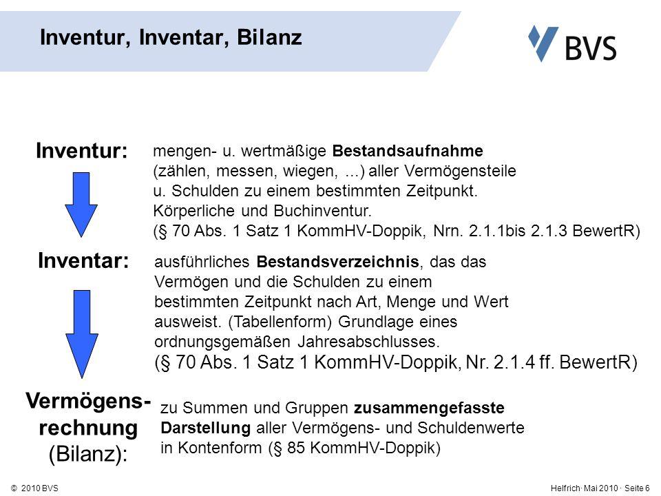 Helfrich· Mai 2010 · Seite 17© 2010 BVS Kommunale Eröffnungsbilanz - Praxisbeispiel Quelle: BKPV