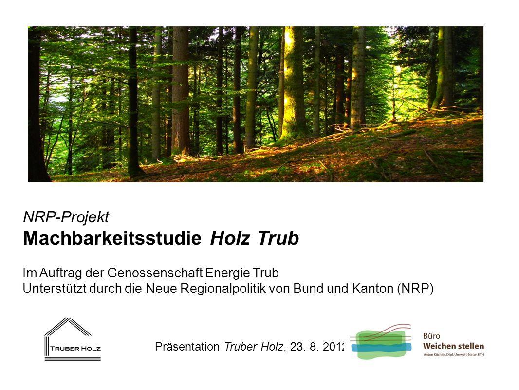 NRP-Projekt Machbarkeitsstudie Holz Trub Im Auftrag der Genossenschaft Energie Trub Unterstützt durch die Neue Regionalpolitik von Bund und Kanton (NR