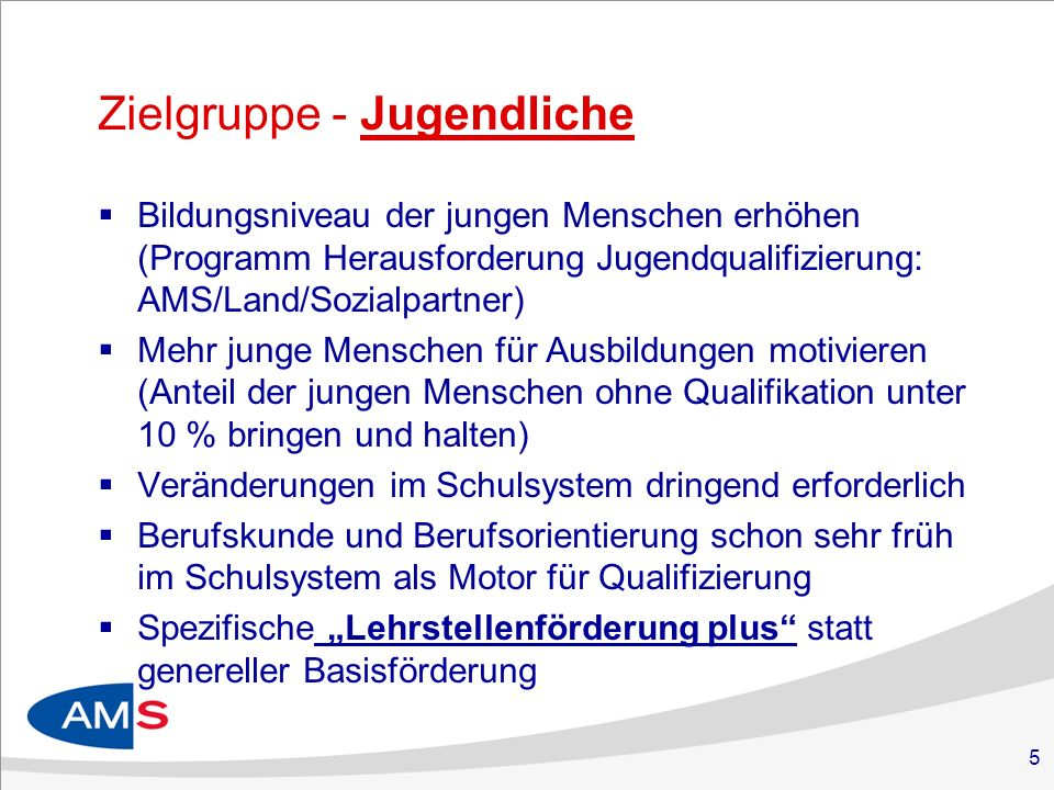 5 Zielgruppe - Jugendliche Bildungsniveau der jungen Menschen erhöhen (Programm Herausforderung Jugendqualifizierung: AMS/Land/Sozialpartner) Mehr jun