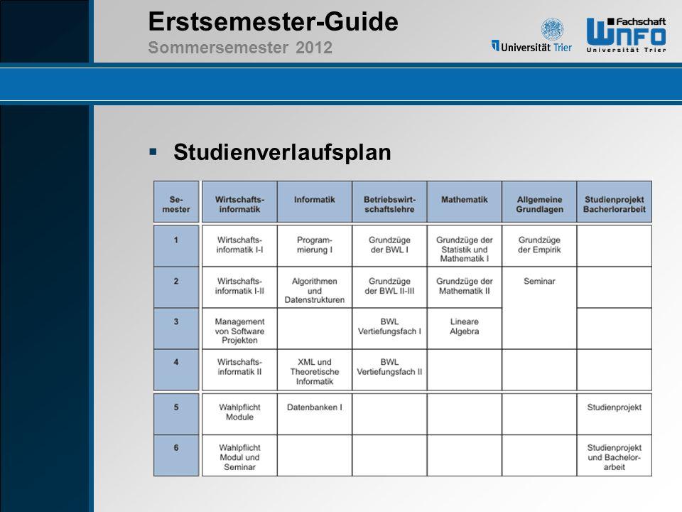 Erstsemester-Guide Sommersemester 2012 Studienverlaufsplan I