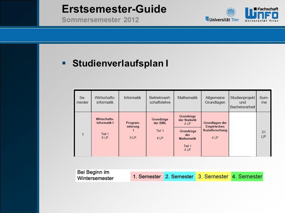 Erstsemester-Guide Sommersemester 2012 Studienverlaufsplan II