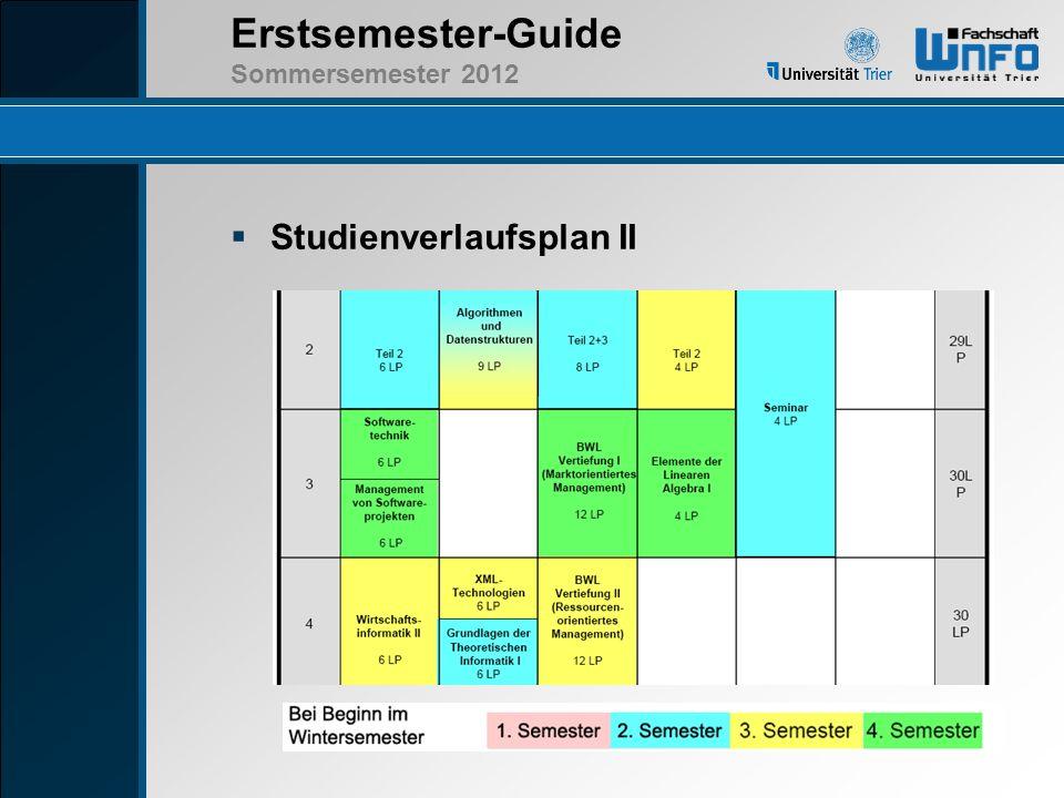 Erstsemester-Guide Sommersemester 2012 Studienverlaufsplan III