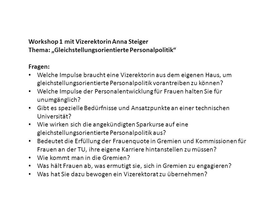 Workshop 1 mit Vizerektorin Anna Steiger Thema: Gleichstellungsorientierte Personalpolitik Fragen: Welche Impulse braucht eine Vizerektorin aus dem eigenen Haus, um gleichstellungsorientierte Personalpolitik vorantreiben zu können.