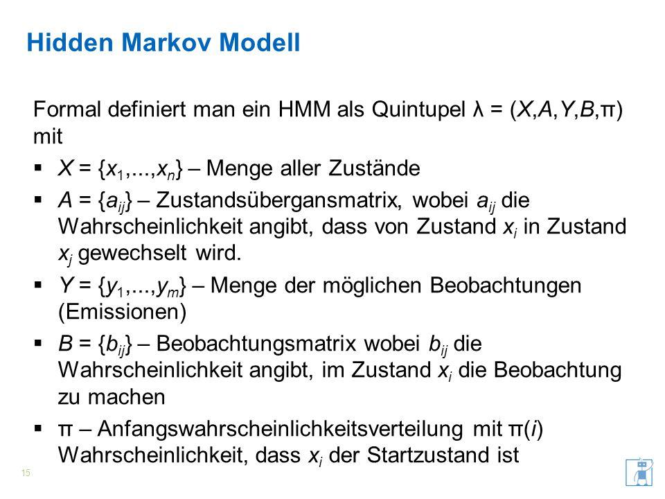 Hidden Markov Modell Formal definiert man ein HMM als Quintupel λ = (X,A,Y,B,π) mit X = {x 1,...,x n } – Menge aller Zustände A = {a ij } – Zustandsüb