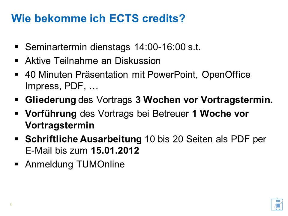Wie bekomme ich ECTS credits? Seminartermin dienstags 14:00-16:00 s.t. Aktive Teilnahme an Diskussion 40 Minuten Präsentation mit PowerPoint, OpenOffi