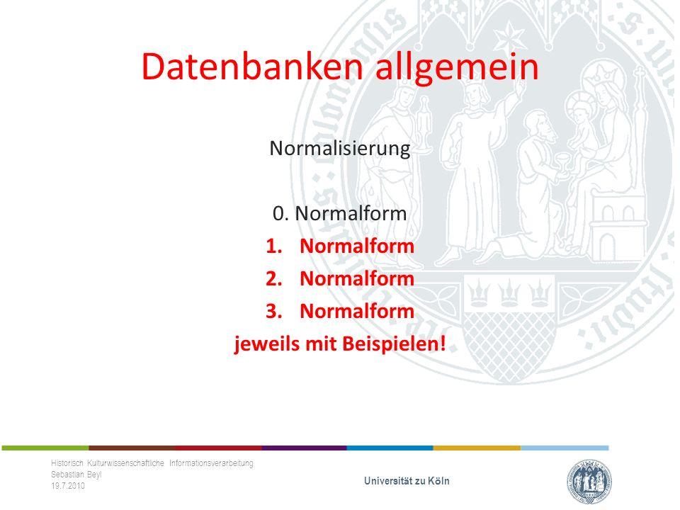 Datenbanken allgemein Normalisierung 0.