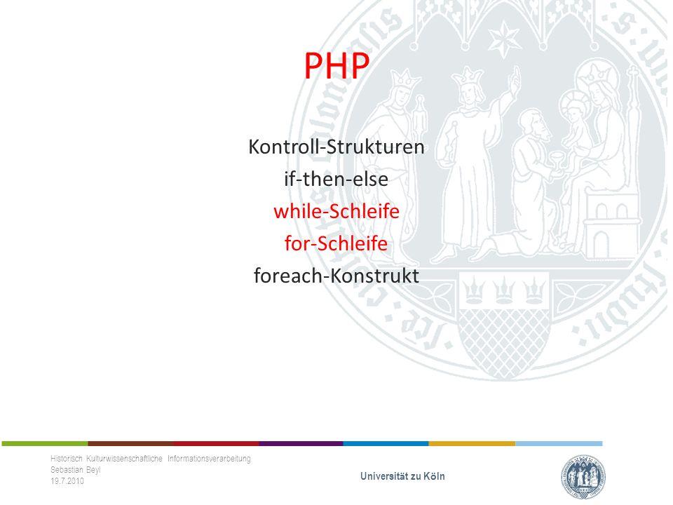 PHP Klassen Objekte Unterschiede zwischen beidem Methoden Eigenschaften Historisch Kulturwissenschaftliche Informationsverarbeitung Sebastian Beyl 19.7.2010 Universit ä t zu K ö ln