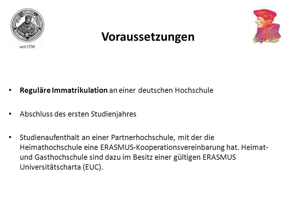 Reguläre Immatrikulation an einer deutschen Hochschule Abschluss des ersten Studienjahres Studienaufenthalt an einer Partnerhochschule, mit der die He