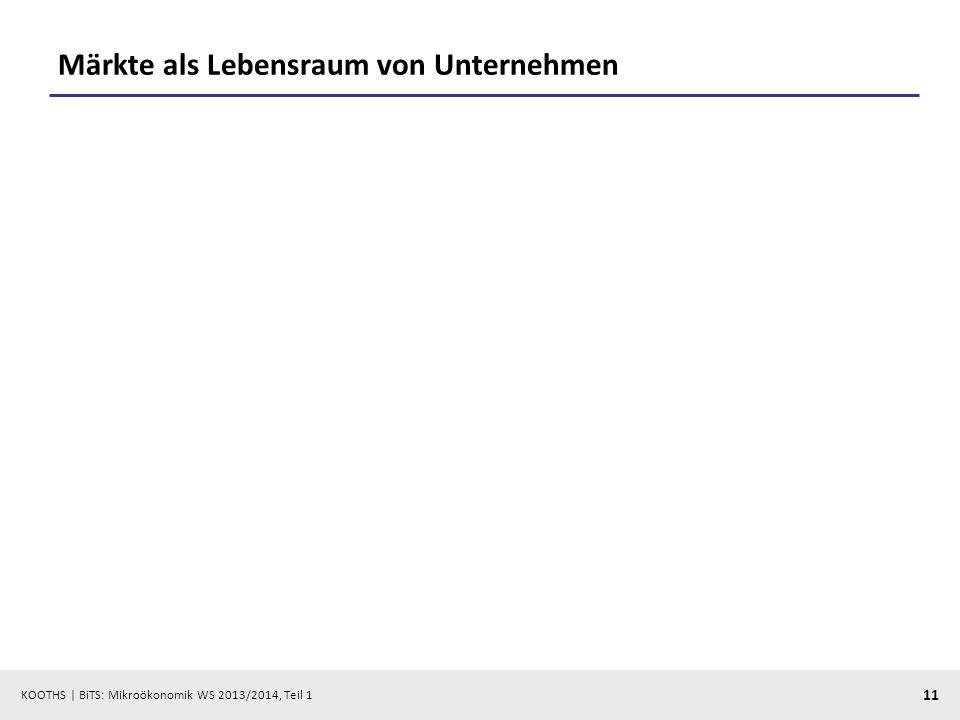 KOOTHS | BiTS: Mikroökonomik WS 2013/2014, Teil 1 11 Märkte als Lebensraum von Unternehmen